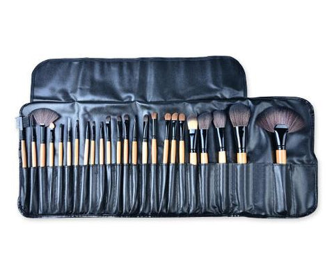 24 Pcs Wooden Makeup Brush Set - Black