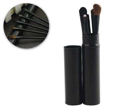 5 Pcs Professional Makeup Brush Set with Cyclinder Tube - Black