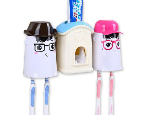 Cartoon Lover Toothpaste Squeezer and Toothbrush Holders - Blue