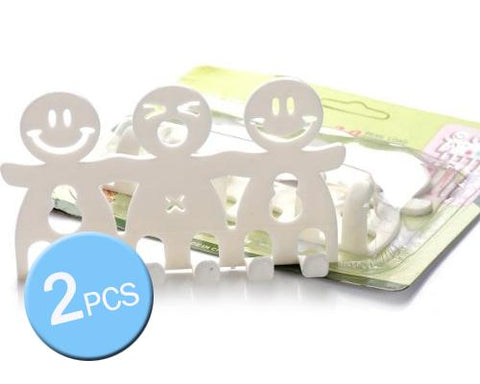 2 Pcs Cute Smiling Face Cartoon Toothbrush Holder - White