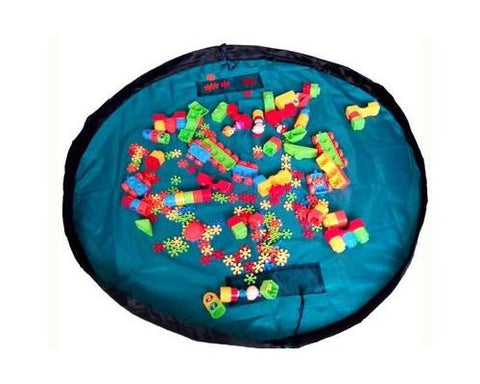 59 inches Extra Large Portable Playing Mat Toy Storage Bag - Ocean Blue