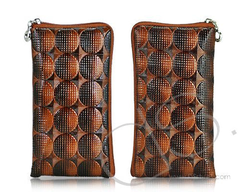 Zipper Series Leather Pouch iPhone 5 and 5S Case - Brown Spot
