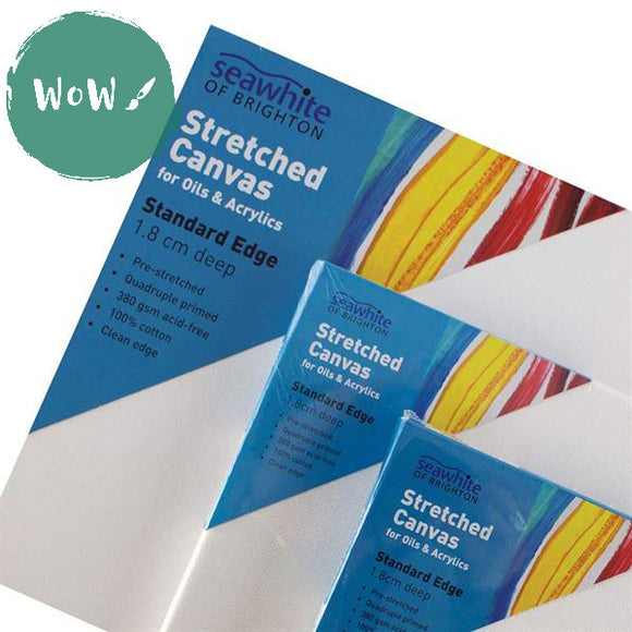 Stretched Primed 350 gsm, 4 times white primed 100% Cotton Canvas, Standard 18mm deep by Seawhite