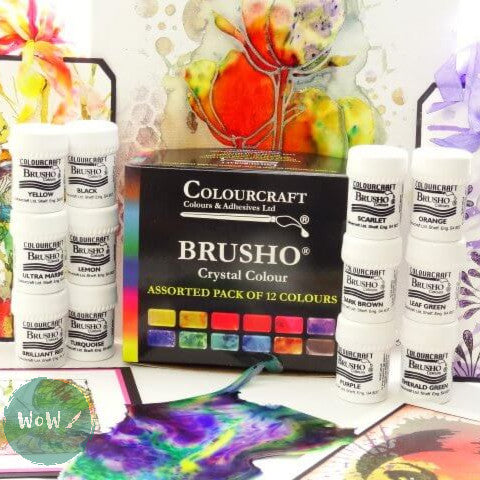 Brusho Watercolour Crystals set 12, Free Atomiser Bottle worth £1.99 included.