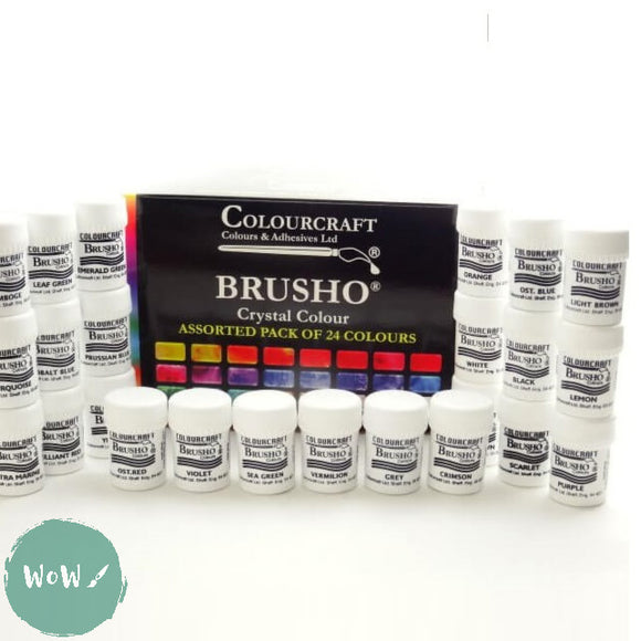 Brusho Watercolour Crystals set 24 Free Sprinkle pot set worth £7.15 included.