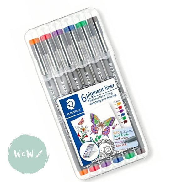 Staedtler 308 Pigment Liner Pens 0.3- Set of 6- Red, Blue, Orange, Green, Violet & Brown