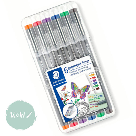 Staedtler 308 Pigment Liner Pens 0.5- Set of 6- Red, Blue, Orange, Green, Violet & Brown