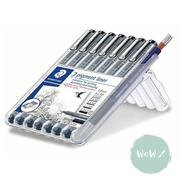 Staedtler 308 Pigment Liner Pens Set of 7 with free Mars Micro 0.5 pencil