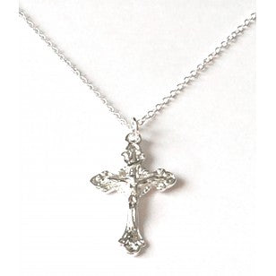 Ornate Crucifix Necklace, A Crucifix pendant on a link chain, with a lovely bright silver colour finish and a secure clasp.  This would make a lovely gift for a First Communion, given as a religious gift or to wear on a day-to-day basis