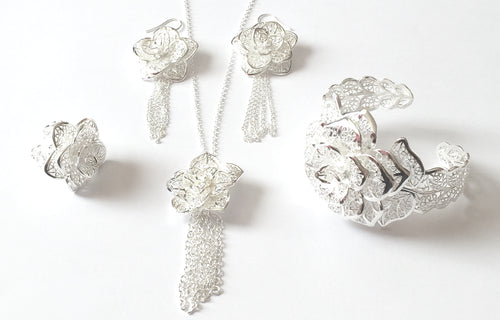Floral Filigree Jewellery Set, A beautiful and unique silver toned four piece filigree jewellery set in a silver finish