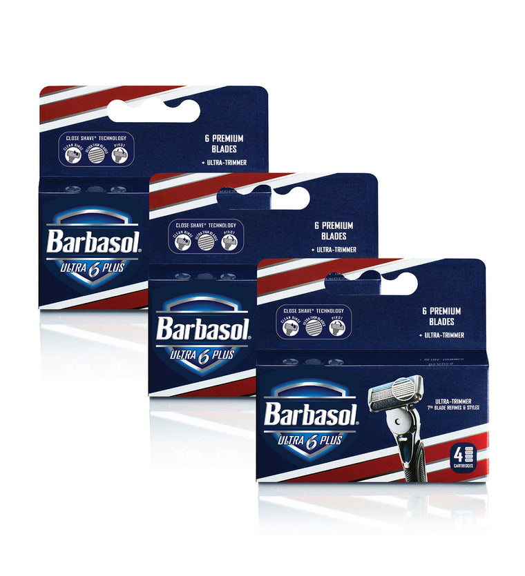 Barbasol Ultra 6 Plus Razor Blade Cartridge Refills, 12 Count (3-6 Month Supply*)
