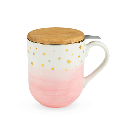 Casey Pink Ceramic Tea Mug & Infuser