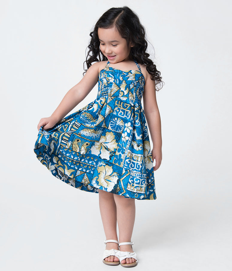 Alfred Shaheen Blue Tapa Tapestry Print Hawaiian Childrens Dress