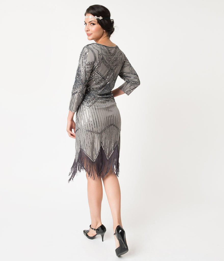 Unique Vintage 1920s Dark Grey Beaded Sequin Sleeved Noemie Fringe Flapper Dress