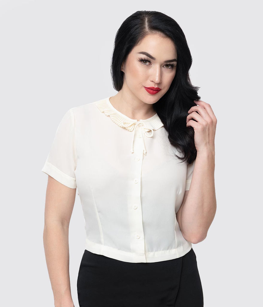 Cream Chiffon Ruffle Collar Ingrid Button Up Blouse