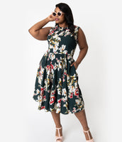Plus Size A-line Pocketed Fitted Vintage Darts Natural Waistline Fall Sleeveless Chiffon Swing-Skirt Floral Print Collared Dress With a Bow(s)