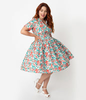 Plus Size Gathered Hidden Side Zipper Pocketed Vintage Darts Collared Cotton Floral Print Swing-Skirt Short Sleeves Sleeves Dress