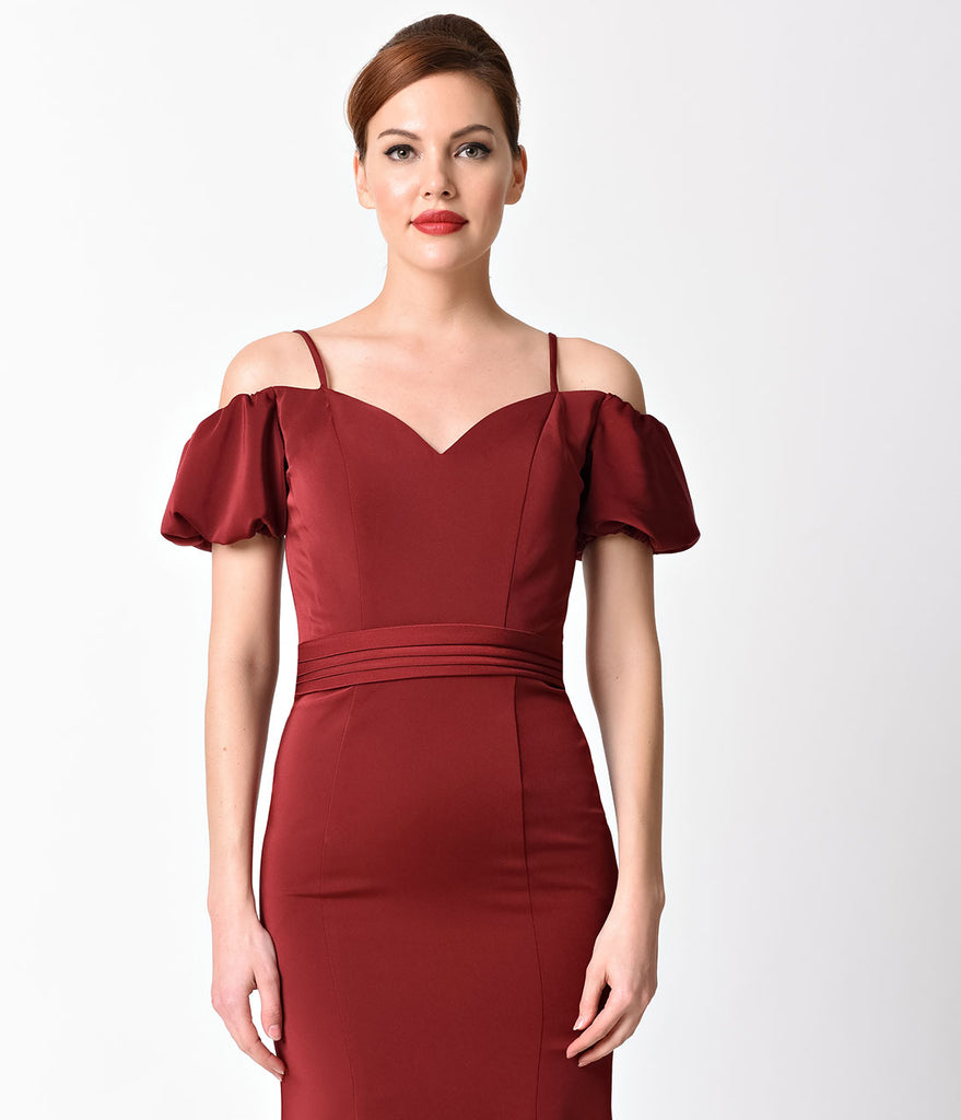 Burgundy Off the Shoulder Lace Back Gown