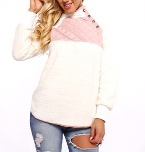 BUTTON PULLOVER (WHITE/PINK)