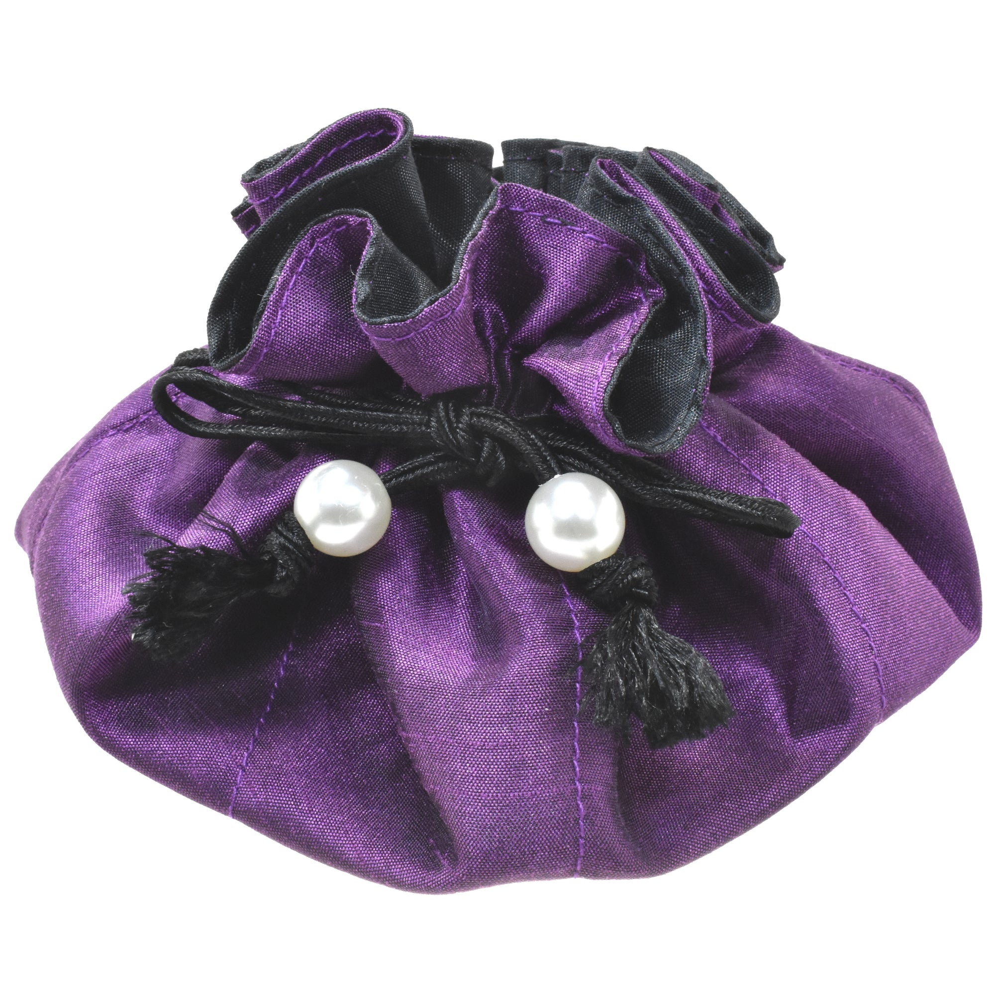 Handmade Drawstring Jewelry Pouch, 8 Pockets, Poly Dupioni Silk, Purple