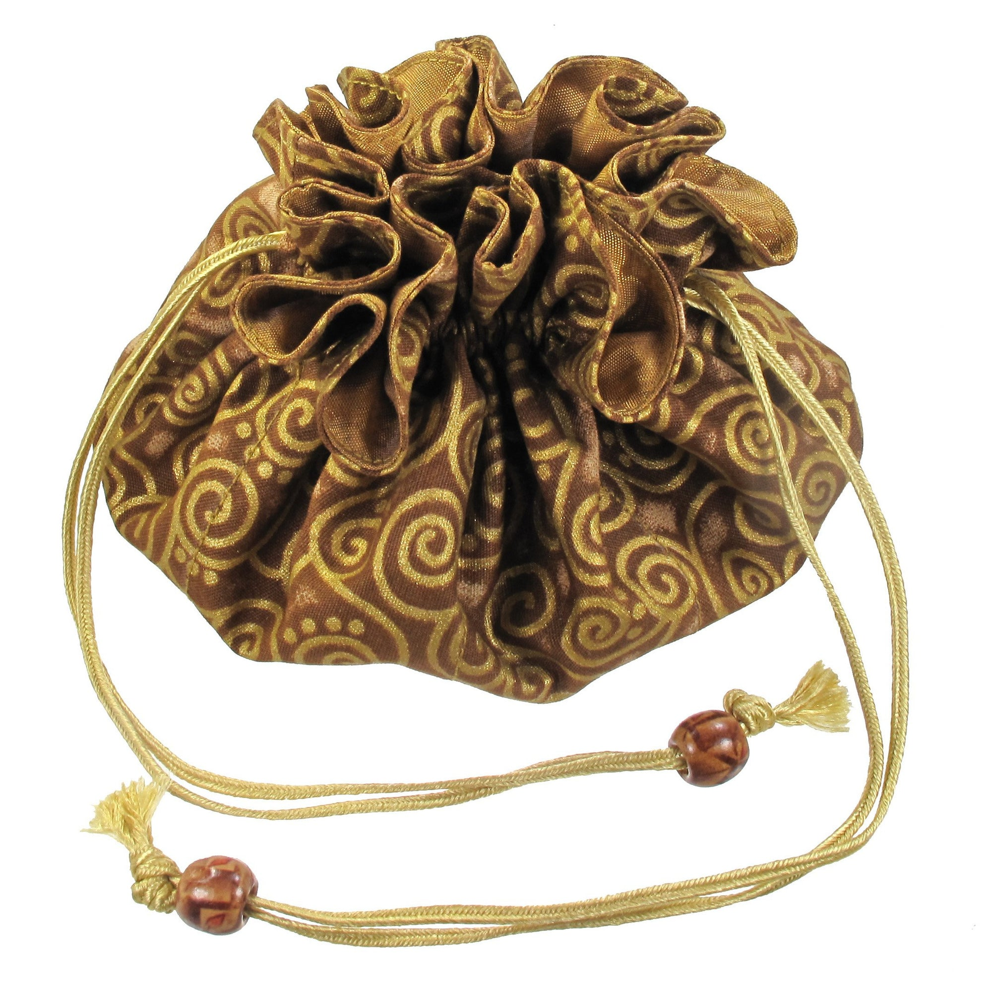 Handmade Drawstring Jewelry Pouch, 8 Pockets, Cotton, Gold with Gold Swirls