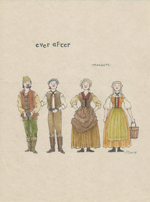 EVER AFTER - 'Peasants' Original Costume sketch by Jess Goldstein