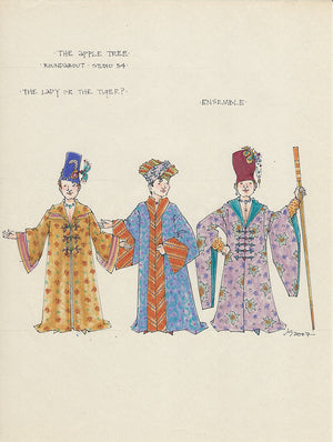 THE APPLE TREE - 1st Male Ensemble Original Costume Sketch by Jess Goldstein