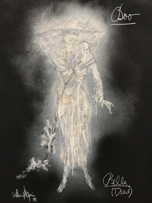 Original Costume Sketch for BOO, AN EVENING OF GHOST STORIES,  'Dead Bella'
