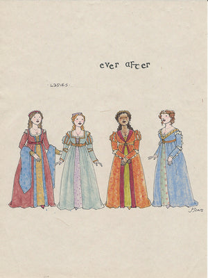 EVER AFTER - 'Ladies Ensemble'  No 2 Original Costume Sketch by Jess Goldstein