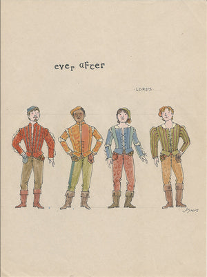 EVER AFTER -  'Lords Ensemble' No 2 Original Costume Sketch  by Jess Goldstein