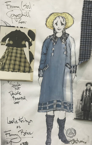 Leslie Kritzer in FUNNY GIRL Costume sketch by David Murin. 'Fanny in Coat'