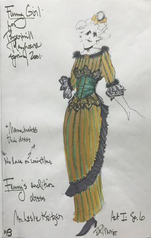 Leslie Kritzer in FUNNY GIRL, Costume Sketch by David Murin  'Fanny's Audition Dress'