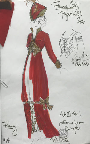 Leslie Kritzer in FUNNY GIRL, Costume Sketch by David Murin 'Return from Europe Dress'