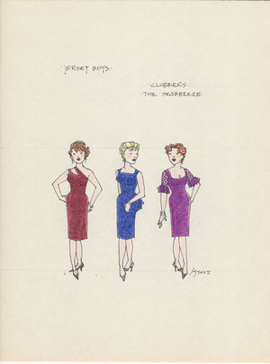 JERSEY BOYS. - Female Clubbers Original Costume Sketch By Jess Goldstein