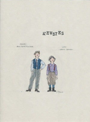 "NEWSIES - ""Davey and Les"" Original Costume Sketch by Jess Goldstein"