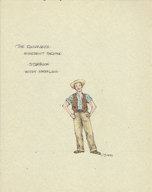 THE RAINMAKER - Woody Harrelson as 'Starbuck' (casual)  Costume sketch by Jess Goldstein