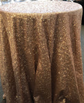 "Blush/Champagne 120"" round sequin Tablecloth"