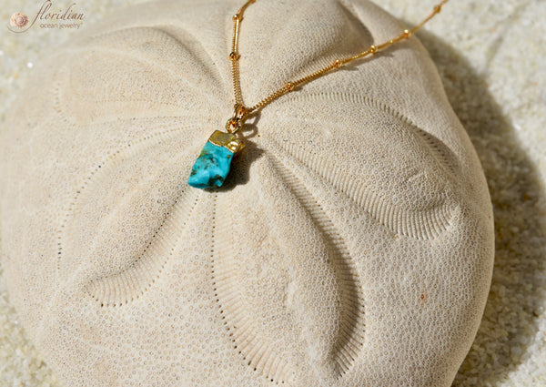 Raw Turquoise Treasure Necklace 14k