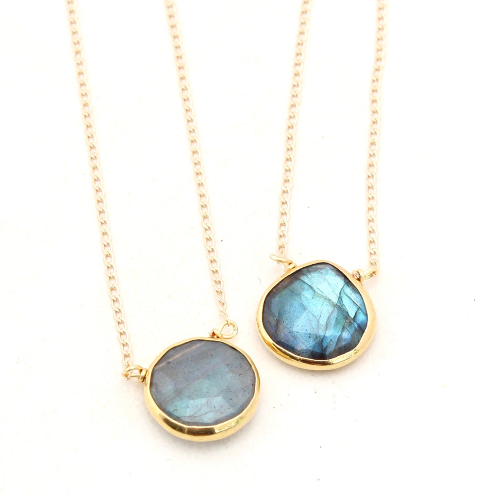 Labradorite Necklace - Short Gold