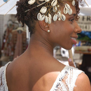 Bridal Headpiece Cowrie Shells with Rhinestones