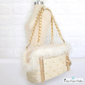 Chez Paree Ivory Tweed Designer Pet Carrier Purse