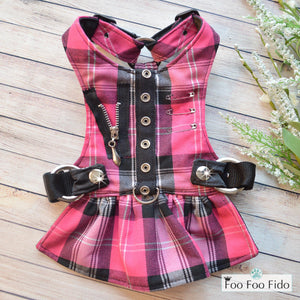 Hot for Teacher Harness Dress in Hot Pink Plaid