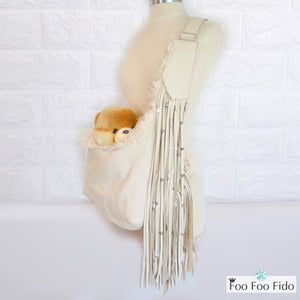 Cream Leather Beaded Fringe Sling 2 colors