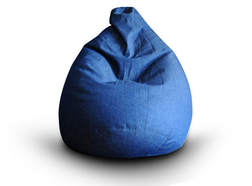 Blue XXL Classic Denim Bean Bag Cover Without Fillers (Bean Bag)