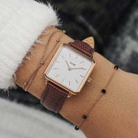 CLUSE 16 mm Strap Burgundy Lizard/Rose Gold CLS380 - watch