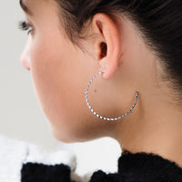 CLUSE Essentielle Silver All Hexagons Hoop Earrings CLJ52008 - earrings in ear