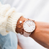 CLUSE La Bohème Rose Gold White/Pink CL18014 - watch on wrist