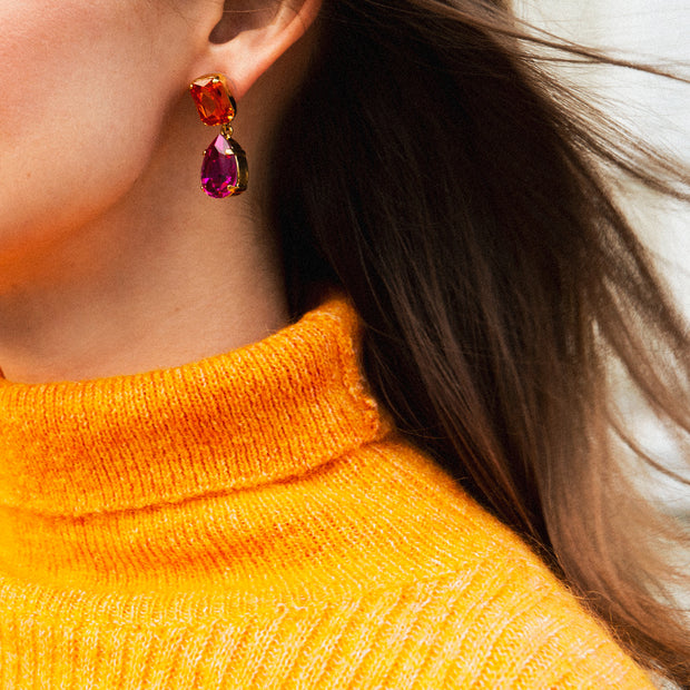 Lydia Earrings / Fuchsia + Astral Pink