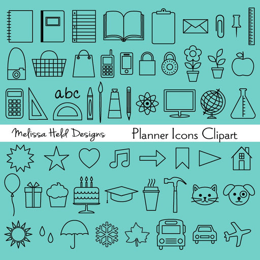 Planner Icons Clipart and Digital Stamps Digital Stamps Melissa Held Designs    Mygrafico
