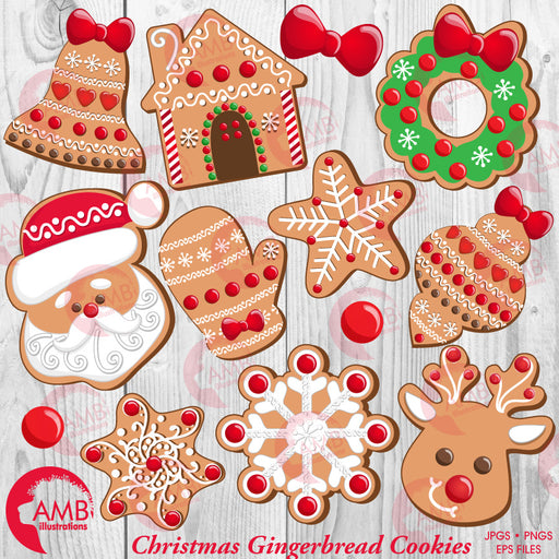Christmas Cookie Clipart, Santa cookie, Gingerbread House, Reindeer Cookie, Snowflake Cookie, mitten cookie, AMB-1539 Cliparts AMBillustrations    Mygrafico